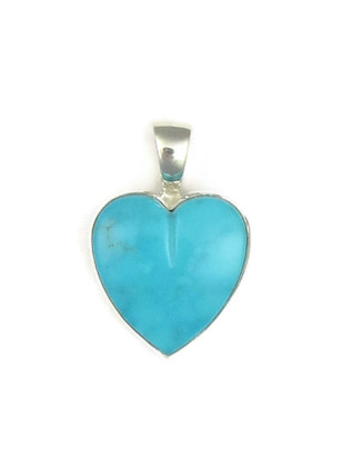 Kingman Turquoise Heart Pendant by Bernise Chavez (PD3855)
