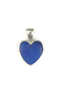 Sterling Silver Lapis Heart Pendant by Bernise Chavez (PD3860)