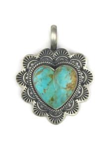 Hand Stamped Kingman Turquoise Heart Pendant