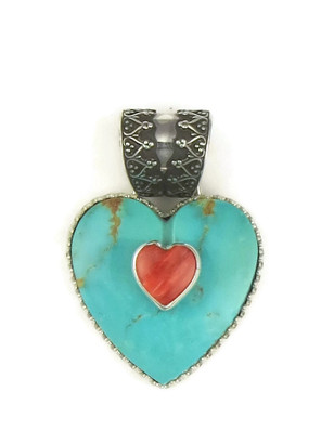 Kingman Turquoise & Spiny Oyster Shell Heart Pendant by Elgin Tom (PD3862)
