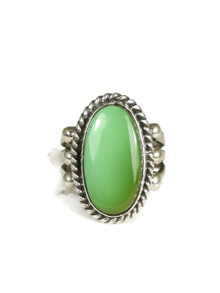 Green Pilot Mountain Turquoise Ring Size 7 by Linda Yazzie