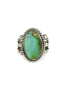 Natural Pilot Mountain Turquoise Ring Size 9 by Linda Yazzie