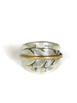 12k Gold & Sterling Silver Feather Ring Size 9 by Lena Platero (RG6550-S9)