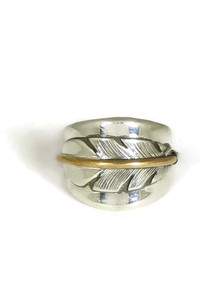 12k Gold & Sterling Silver Feather Ring Size 10 by Lena Platero