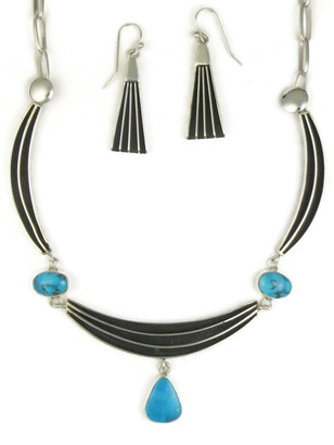 Kingman Turquoise Silver Channel Necklace Set by Francis Jones