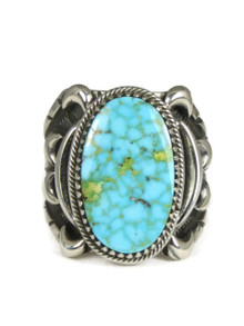 Natural Kingman Bird's Eye Turquoise Ring Size 14 by Delbert Gordon