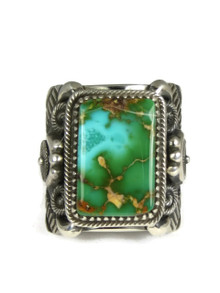 Natural Royston Turquoise Ring Size 13 by Delbert Gordon