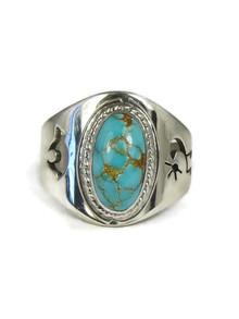 Number 8 Turquoise Bear & Kokopelli Ring Size 9 by Herbert Pino