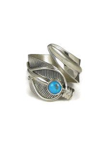 Kingman Turquoise Adjustable Silver Feather Ring Size 9-10 by Freddy Charley