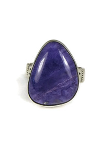 Sterling Silver Charoite Ring Size 8 by Lyle Piaso