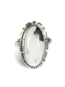 White Buffalo Turquoise Ring Size 8 by Lydia Yazzie