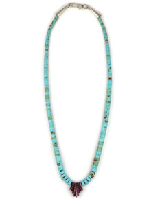 """Turquoise & Purple Spiny Oyster Shell Heishi Necklace 17 1/2"""""""