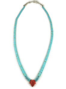 Turquoise Heishi & Spiny Oyster Shell Necklace 17 1/2""