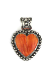 Orange Spiny Oyster Shell Heart Pendant by Happy Piaso (PD3884)