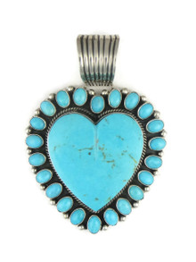 Large Kingman Turquoise & Sleeping Beauty Turquoise Heart Pendant by LaRose Ganadonegro