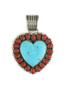 Kingman Turquoise & Mediterranean Coral Heart Pendant by LaRose Ganadonegro