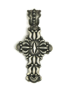 Fancy Handmade Silver Cross Pendant by Darryl Becenti