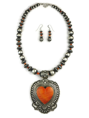 Large Handmade Spiny Oyster Shell Heart Necklace Set by Darryl Becenti