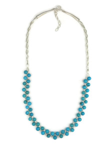 Liquid Silver Turquoise Bead Necklace - Adjustable Length (LSNK155)