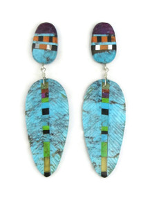 Turquoise Inlay Feather Slab Earrings by Ronald Chavez (ER3841)