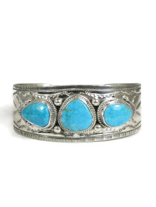 Three Stone Kingman Turquoise Bracelet by Joe Piaso
