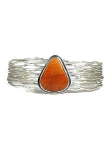 Spiny Oyster Shell Silver Branch Wire Bracelet by Murphy Platero