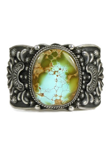 Natural High-Grade Blue-Green Royston Turquoise Cuff Bracelet by Darryl Becenti