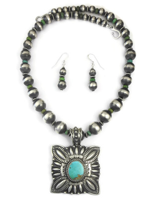 Natural Royston Turquoise Pendant Necklace Set by Darryl Becenti (NK4492)