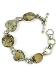Silver Variscite Heart Link Bracelet by Lyle Piaso