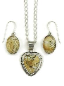 Silver Variscite Heart Oval Pendant Set