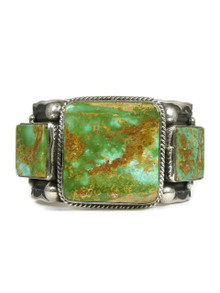 Natural High-Grade Green Royston Cuff Bracelet by Guy Hoskie - Small Size