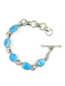 Kingman Turquoise Link Bracelet by Lyle Piaso (BR4281)