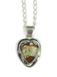 Silver Variscite Heart Pendant by Phillip Sanchez (PD3900)