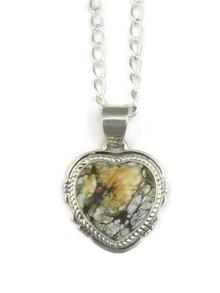 Silver Variscite Heart Pendant by Jake Sampson (PD3901)