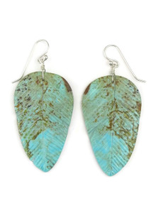 Turquoise Feather Slab Earrings by Ronald Chavez (ER3972)