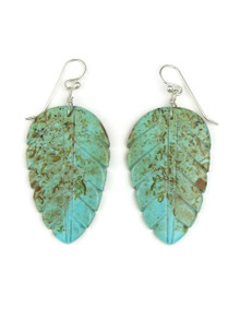 Turquoise Feather Slab Earrings by Ronald Chavez (ER8003)