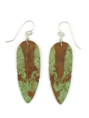 Turquoise Feather Slab Earrings by Ronald Chavez (ER3974)