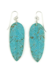 Turquoise Feather Slab Earrings by Ronald Chavez (ER3975)