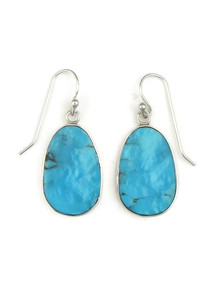 Silver Turquoise Slab Earrings by Ronald Chavez (ER3977)
