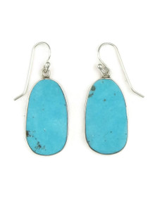 Silver Turquoise Slab Earrings by Ronald Chavez (ER3978)