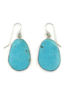 Silver Turquoise Slab Earrings by Ronald Chavez (ER3980)