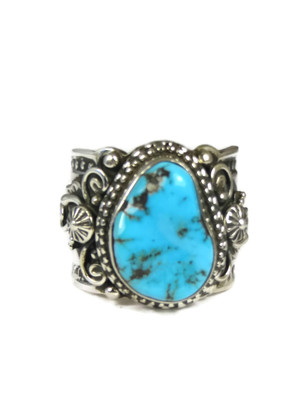 Kingman Turquoise Ring Size 11 by Fritson Toledo