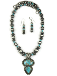 Natural Pilot Mountain Turquoise Necklace Set by Happy Piaso