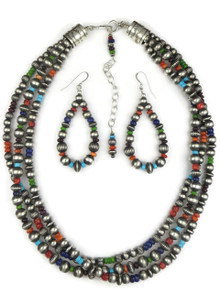 Three Strand Multi Gemstone Silver Bead Necklace Set