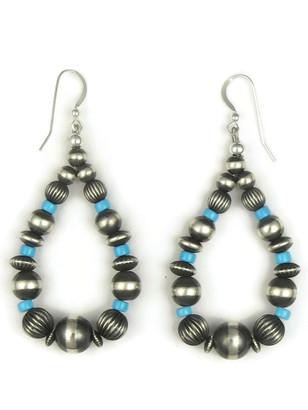 Turquoise Silver Bead Loop Earrings
