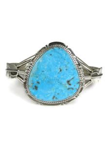 Kingman Turquoise Silver Feather Bracelet by John Nelson (BR6053)
