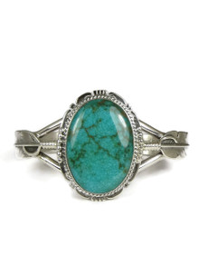 Sierra Nevada Turquoise Silver Feather Bracelet by John Nelson (BR6056)