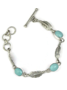 Turquoise Mountain Turquoise Silver Feather Link Bracelet by Lyle Piaso (BR6057)