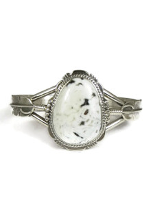 White Buffalo Silver Feather Bracelet by John Nelson