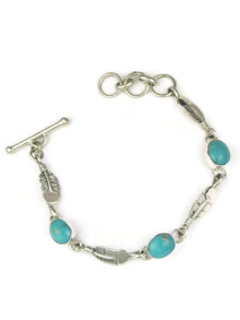 Turquoise Mountain Silver Feather Link Bracelet by Lyle Piaso (BR6061)